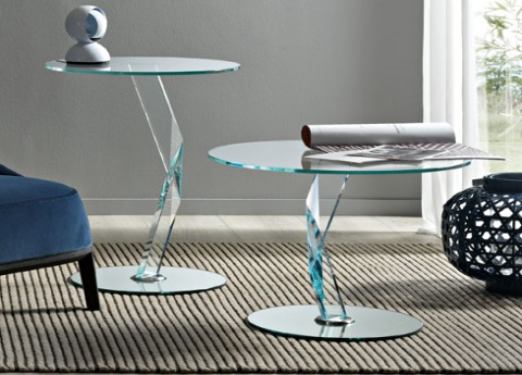 Bakkarat glass side tables