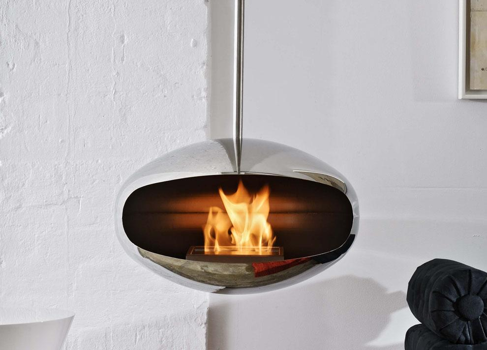 Cocoon Aeris Hanging Fireplace - Polished Steel