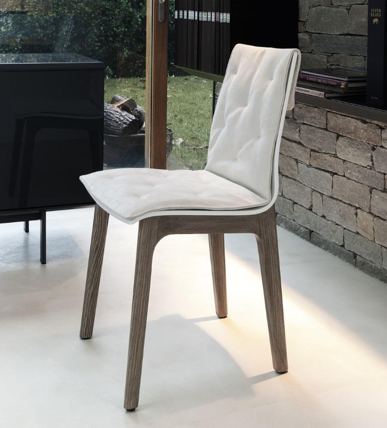 Bontempi Alfa Upholstered Dining Chair (Wood)