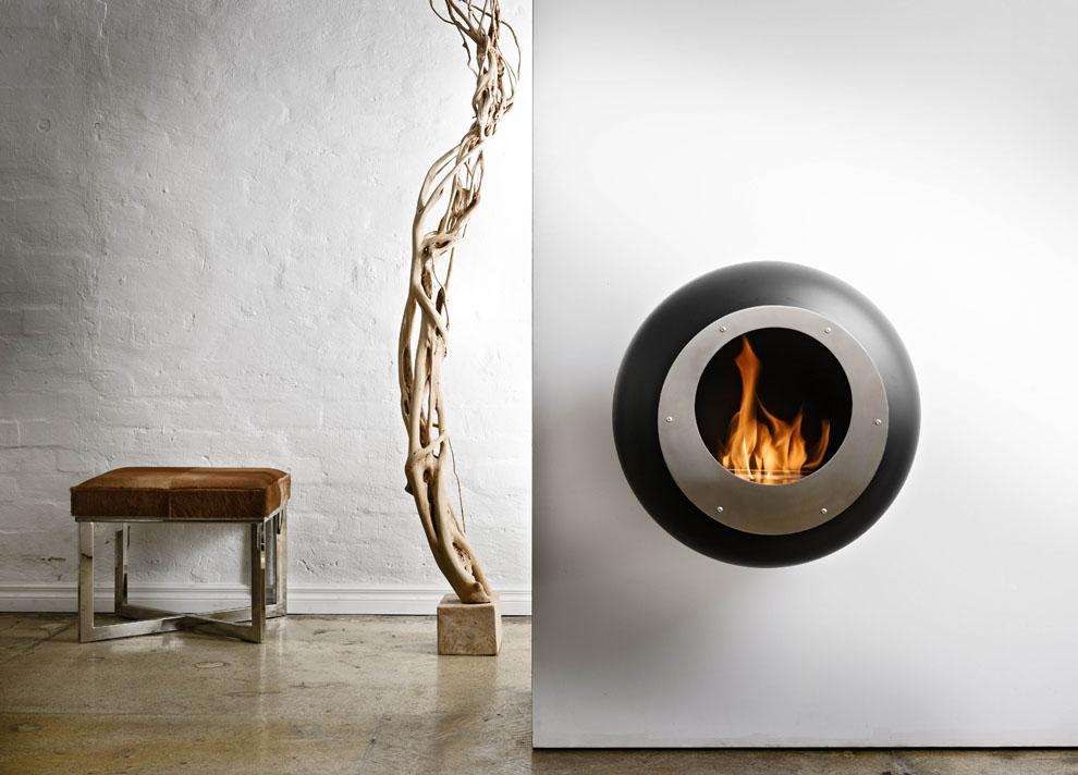 Cocoon Vellum Wall Mounted Fire - Black