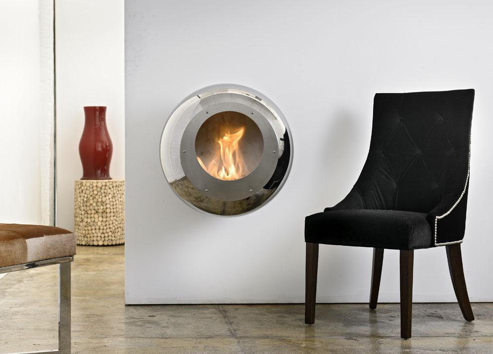 Cocoon Vellum Wall Mounted Fire - Stainless Steel