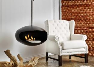 Cocoon Aeris Hanging Fireplace - Black, with 316 Stainless Steel hanging system