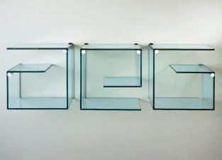 Tonelli Alfabeta Pair of Glass Wall Shelves