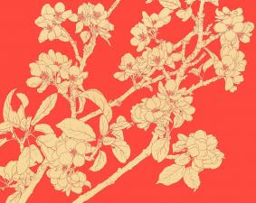 Gold Blossom On Red, 2014 by Robin Duttson