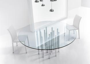Bonaldo Mille Round Glass Dining Table